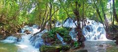 Pha Tat Waterfall on the top floor Stock Photos