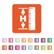 The height icon. Altitude, elevation, level, hgt symbol. Flat - stock illustration