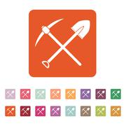 The crossing spade pickax icon. Pickax and excavation, digging, mining symbol Stock Illustration
