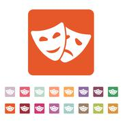The theater and  mask icon. Drama, comedy, tragedy symbol. Flat Stock Illustration