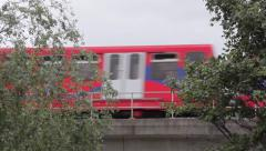 Docklands Light Railway train on bridge 4 Stock Footage