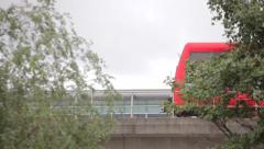 Docklands Light Railway train on bridge 3 Stock Footage