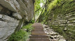 Stone stairs in Tissot-box Grove. Sochi, Russia. 1280x720 Stock Footage