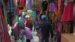 Clothes shops on steep road,Leh,Ladakh,India Stock Footage