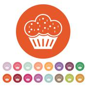 The muffin icon. Dessert and baked, cake, bakery symbol. Flat Stock Illustration