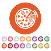 The pizza icon. Pizzeria and baking, fast food symbol. Flat - stock illustration