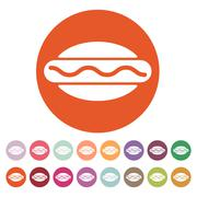 The hot dog icon. Sandwich and baking, fast food symbol. Flat Stock Illustration