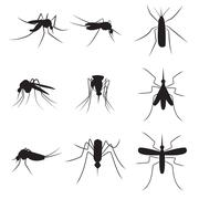 Set of black silhouette carrier mosquitoes isolated on white background - stock illustration