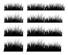 Set of black silhouette grass in different height - stock illustration