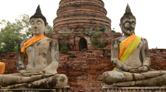 Zoom Out - Statue of Dressed Buddha Stock Footage