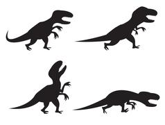 Stock Illustration of Black Silhouette of T-rex and Velociraptor in movement, angry,run, roar and h