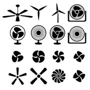 Set of fans and propellers icons - stock illustration