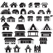 Set of tradition home style and other building - stock illustration