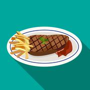 Stock Illustration of Grilled meat steak flat style