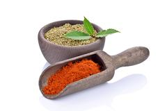 Marjoram with red peppers Stock Photos