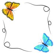 Spring butterfly and winter butterfly ,vector - stock illustration