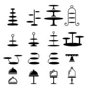 Set of cake stand in silhouette icon Stock Illustration