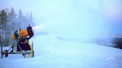 Snow making system in mountain on the ski hill in winter Stock Footage