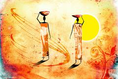 African motive ethnic retro vintage - stock illustration