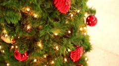 Christmas decoration- hanging lanterns with holly twigs. decorations sold during Stock Footage