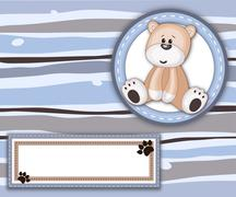 Stripey card with teddy bear label and copy space - stock illustration