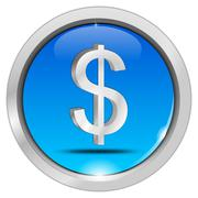 Button with Dollar sign - stock photo
