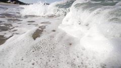 Sea wave crashes on the beach spectacular super slow motion Stock Footage