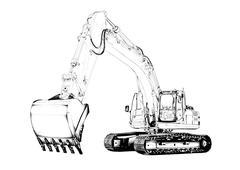 Stock Illustration of Excavator illustration isolated art drawing