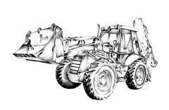 Loader illustration drawing art - stock illustration