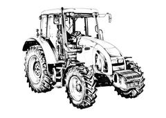 Stock Illustration of Agricultural tractor illustration art drawing