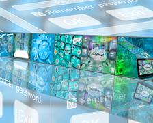 Screens with digital imagery Stock Illustration