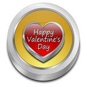 Happy Valentine's Day button - stock photo
