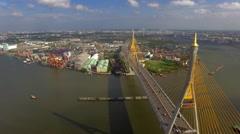 suspension bridge in Bangkok city - stock footage