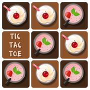 Tic-Tac-Toe of milk shake and strawberry smoothie Stock Illustration