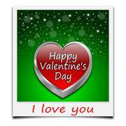 Happy Valentine's Day on instant photo Stock Photos