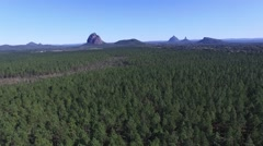 Glasshouse Mountains track forward Stock Footage