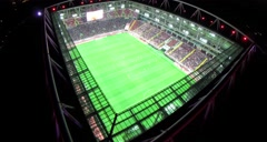 Aerial of football soccer play at stadium. Moscow. Otkrytie Arena. Spartak. Stock Footage