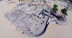 Aerial of Venice Skate Park. Los Angeles. - stock footage