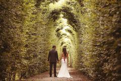 Bride and groom in garden of Schonbrunn, Vienna - stock photo