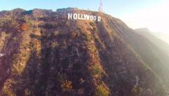 Hollywood sign and hills. Aerial shots and overfly. - stock footage