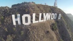 Hollywood sign and hills. Aerial shots and overfly. Best for color grading. - stock footage