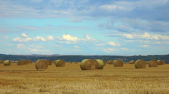French countryside - Many big hay bales in field  - Panoramic 2 Stock Footage