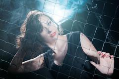 woman mesh netting - stock photo
