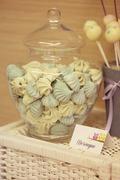 Cake pops and meringue - stock photo