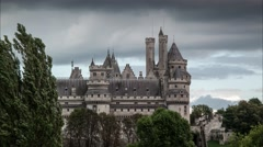 Dramatic storm clouds over Pierrefonds castle towers, France. 4K UHD Timelapse. Stock Footage