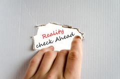 Reality check ahead Text Concept - stock photo