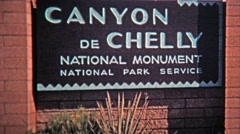 1972: Canyon De Chelly national monument native lands with homes built into Stock Footage