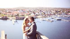 Bride and groom in Gothenburg, Sweden - stock photo