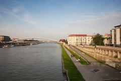Vistula River Waterfront in Krakow Stock Photos