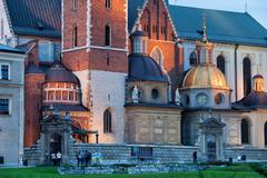 Wawel Royal Cathedral by Night in Cracow - stock photo